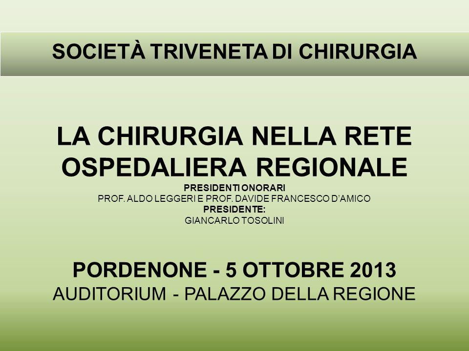 SOCIETÀ TRIVENETA DI CHIRURGIA LA CHIRURGIA NELLA RETE OSPEDALIERA REGIONALE PRESIDENTI ONORARI PROF.