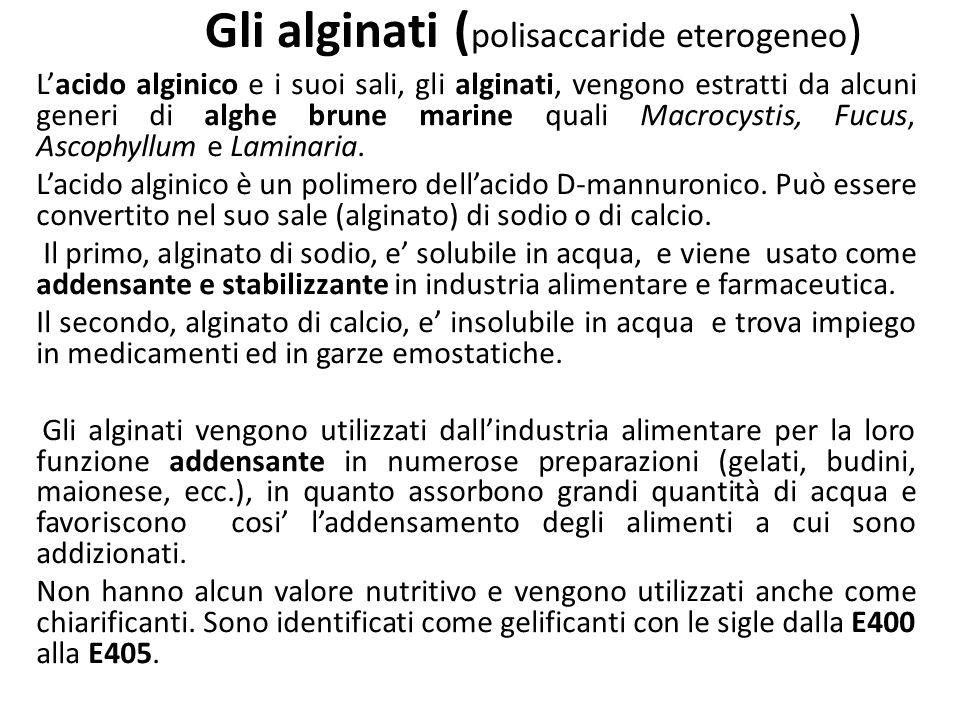 Gli alginati (polisaccaride eterogeneo)