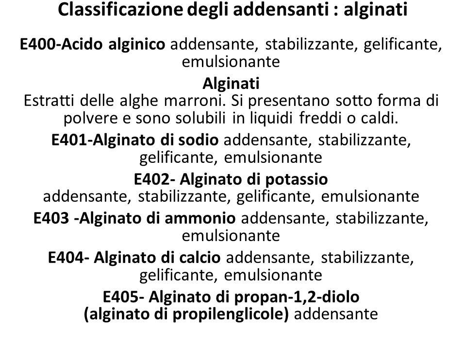 Classificazione degli addensanti : alginati