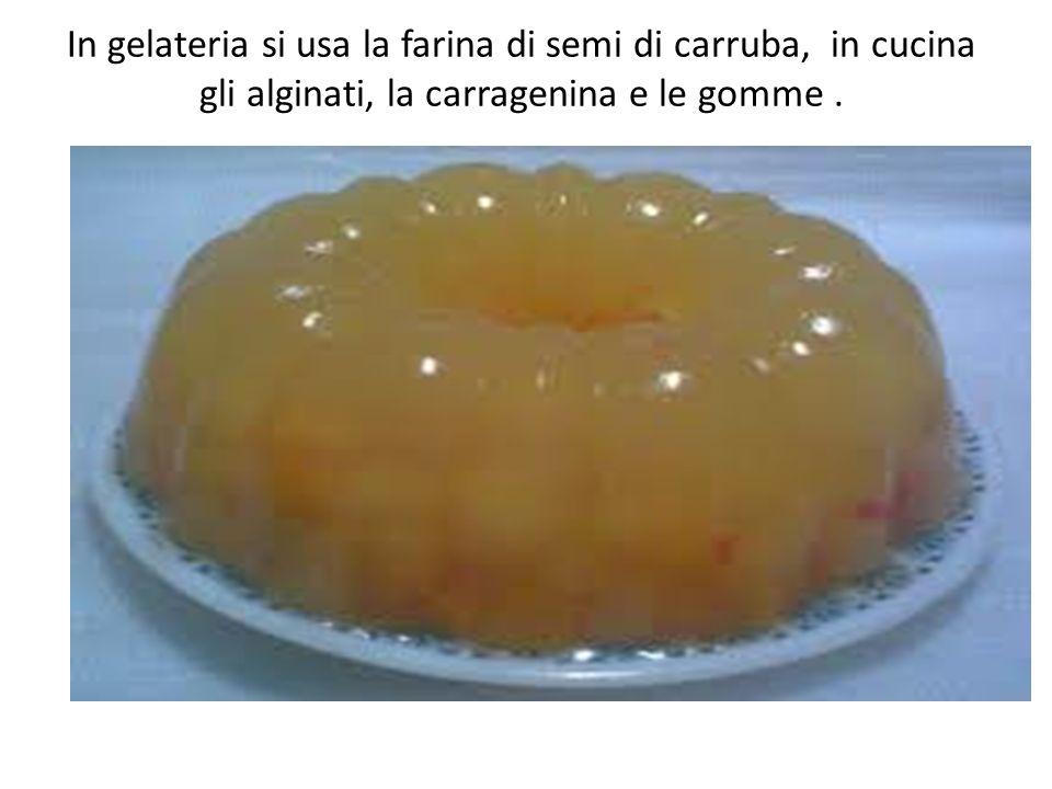 In gelateria si usa la farina di semi di carruba, in cucina gli alginati, la carragenina e le gomme .