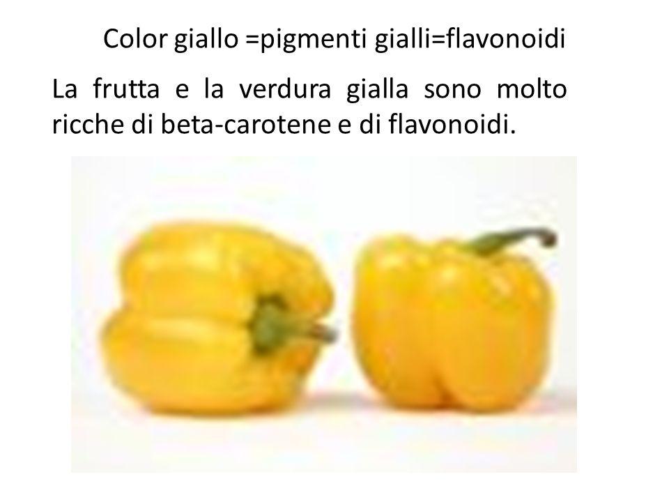 Color giallo =pigmenti gialli=flavonoidi