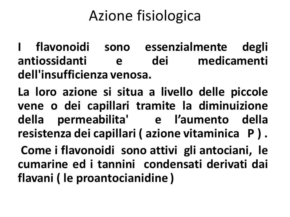 Azione fisiologica I flavonoidi sono essenzialmente degli antiossidanti e dei medicamenti dell insufficienza venosa.