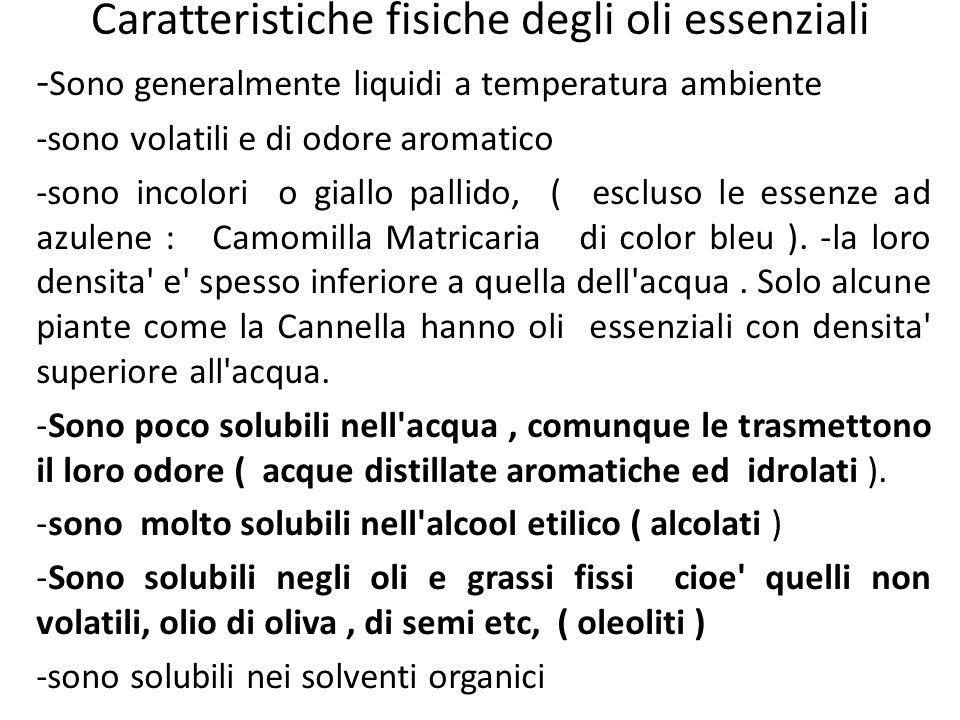 Caratteristiche fisiche degli oli essenziali