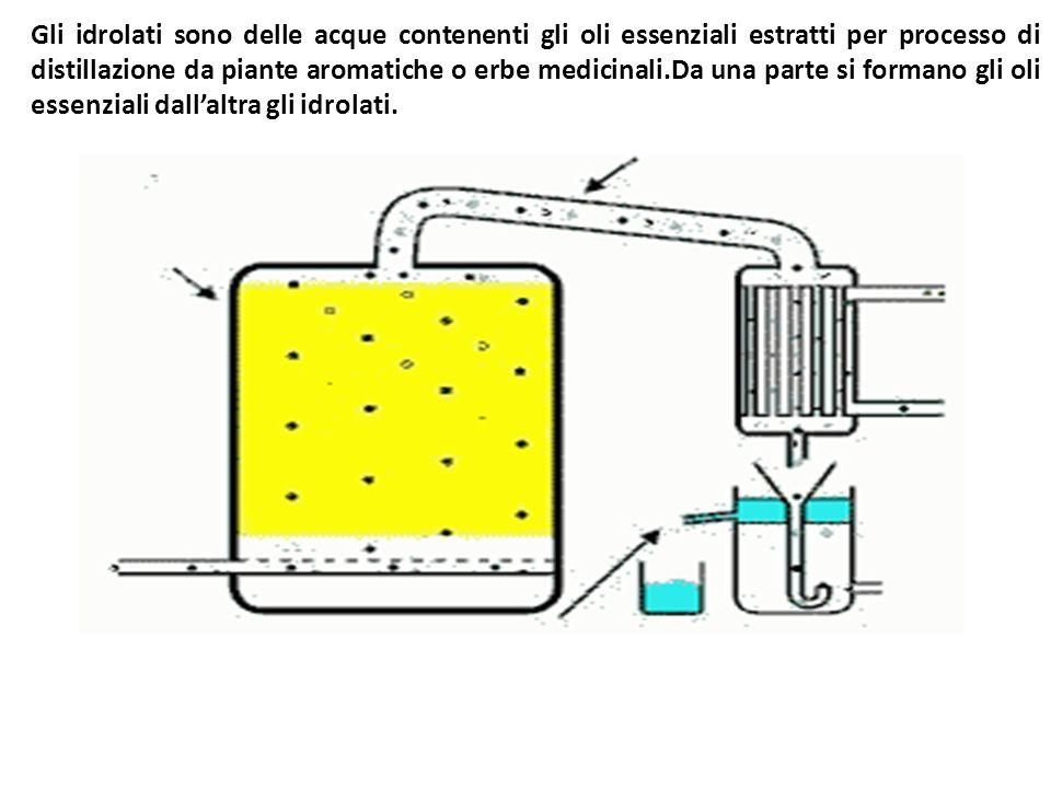 Gli idrolati sono delle acque contenenti gli oli essenziali estratti per processo di distillazione da piante aromatiche o erbe medicinali.Da una parte si formano gli oli essenziali dall'altra gli idrolati.