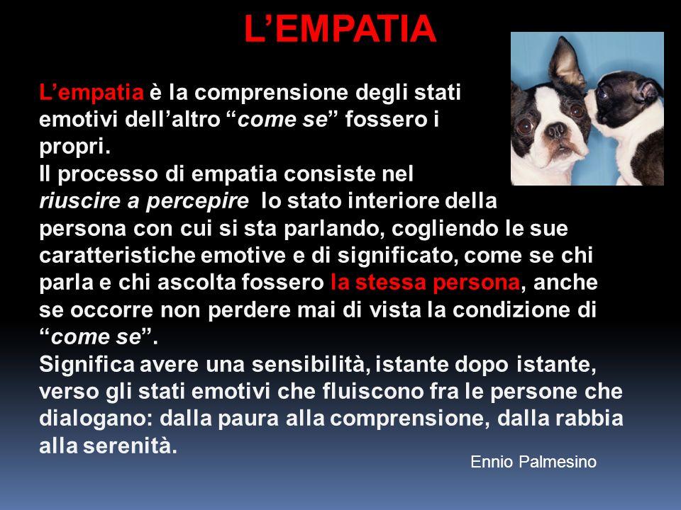 L'EMPATIA L'empatia è la comprensione degli stati emotivi dell'altro come se fossero i propri.