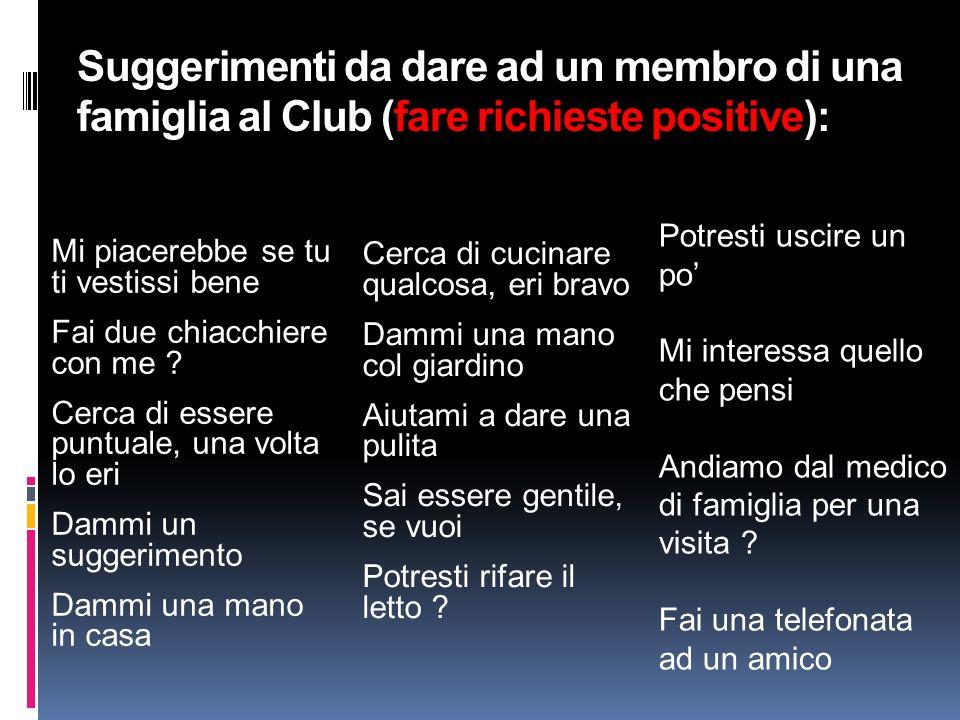 Suggerimenti da dare ad un membro di una famiglia al Club (fare richieste positive):
