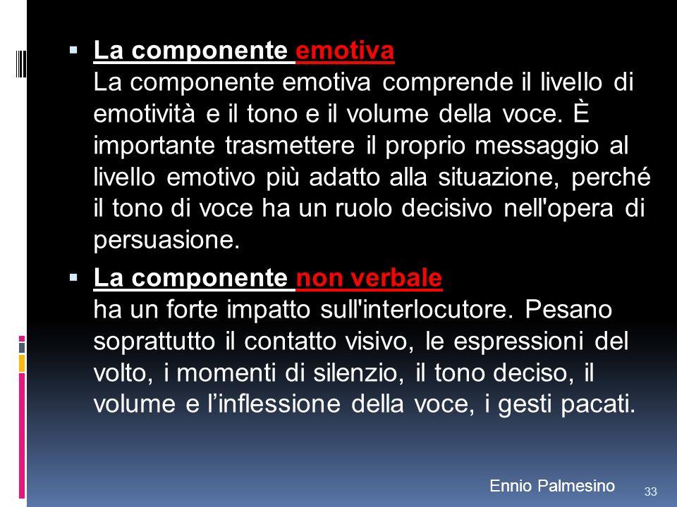 La componente emotiva La componente emotiva comprende il livello di emotività e il tono e il volume della voce. È importante trasmettere il proprio messaggio al livello emotivo più adatto alla situazione, perché il tono di voce ha un ruolo decisivo nell opera di persuasione.
