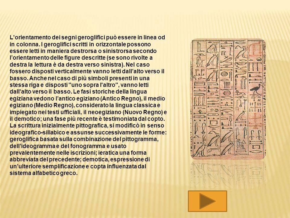 L orientamento dei segni geroglifici può essere in linea od in colonna