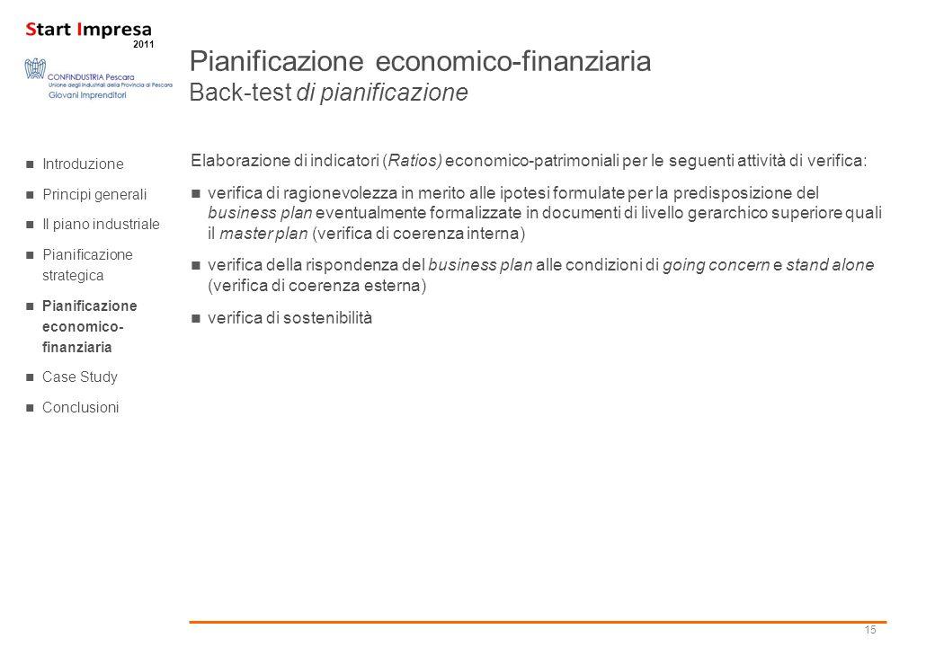Pianificazione economico-finanziaria Back-test di pianificazione