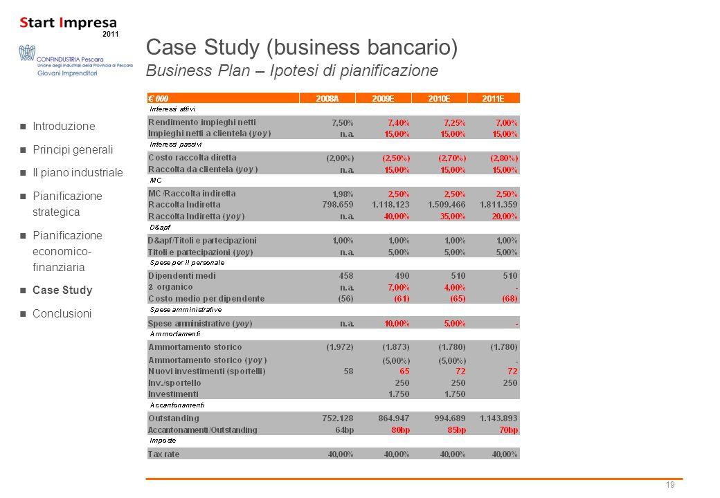 Case Study (business bancario) Business Plan – Ipotesi di pianificazione