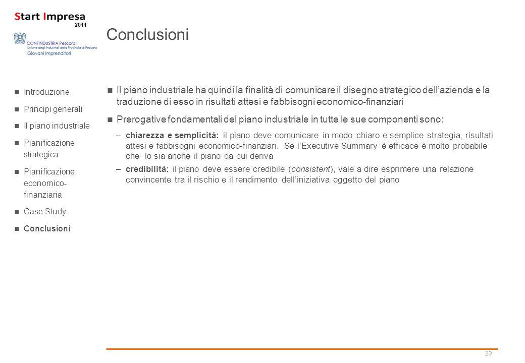 Conclusioni Introduzione. Principi generali. Il piano industriale. Pianificazione strategica. Pianificazione economico- finanziaria.