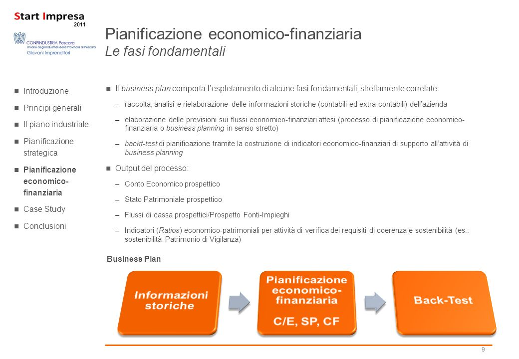 Informazioni storiche Pianificazione economico-finanziaria C/E, SP, CF