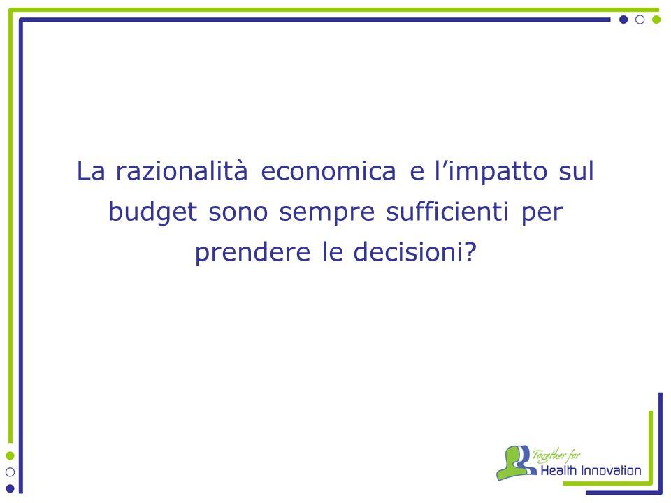 La razionalità economica e l'impatto sul budget sono sempre sufficienti per prendere le decisioni