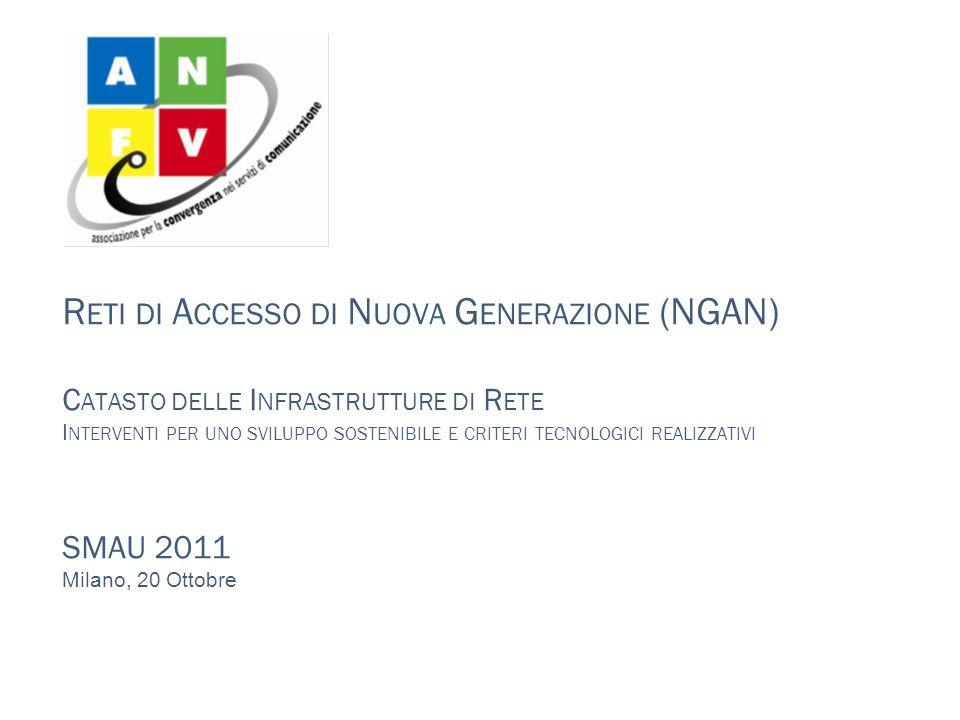 Reti di Accesso di Nuova Generazione (NGAN) Catasto delle Infrastrutture di Rete Interventi per uno sviluppo sostenibile e criteri tecnologici realizzativi SMAU 2011 Milano, 20 Ottobre