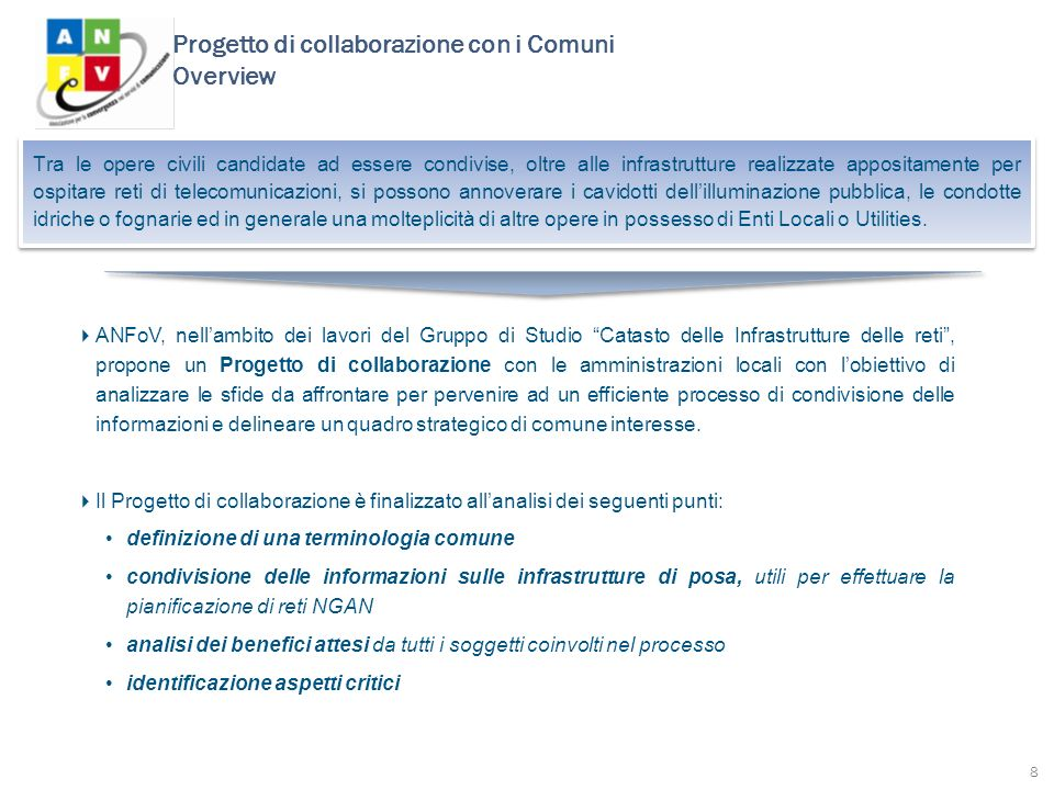 Progetto di collaborazione con i Comuni Overview