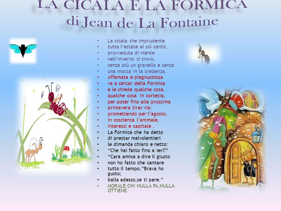 LA CICALA E LA FORMICA di Jean de La Fontaine