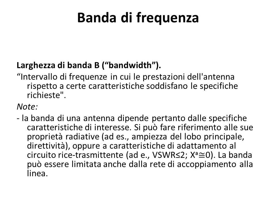 Banda di frequenza Larghezza di banda B ( bandwidth ).