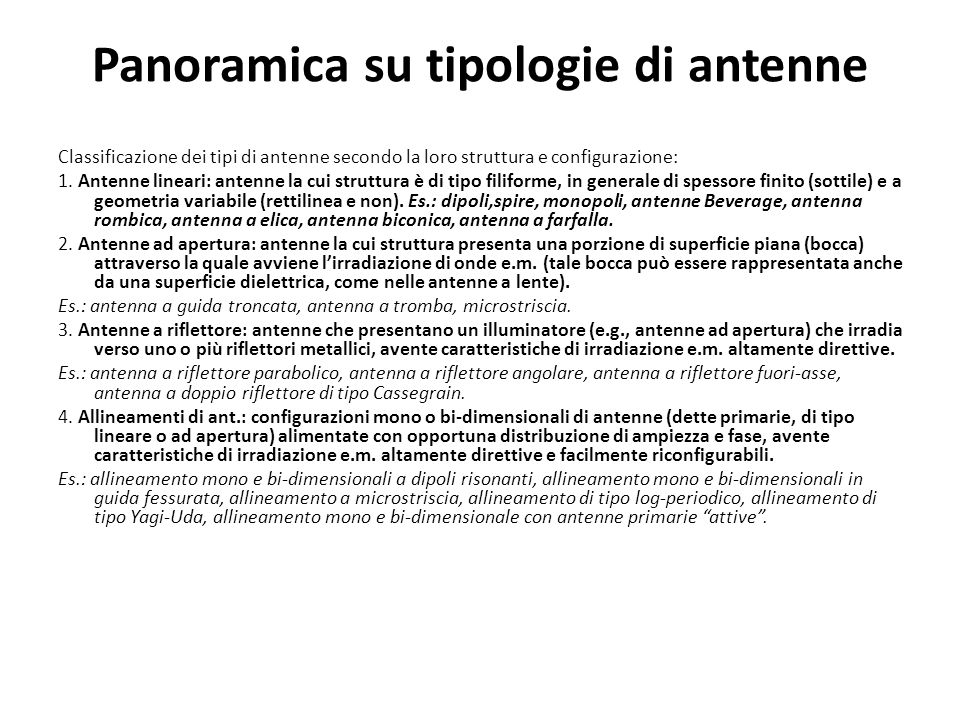 Panoramica su tipologie di antenne