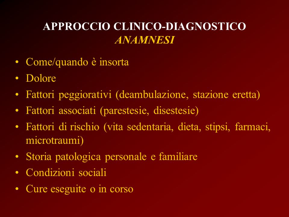 APPROCCIO CLINICO-DIAGNOSTICO ANAMNESI