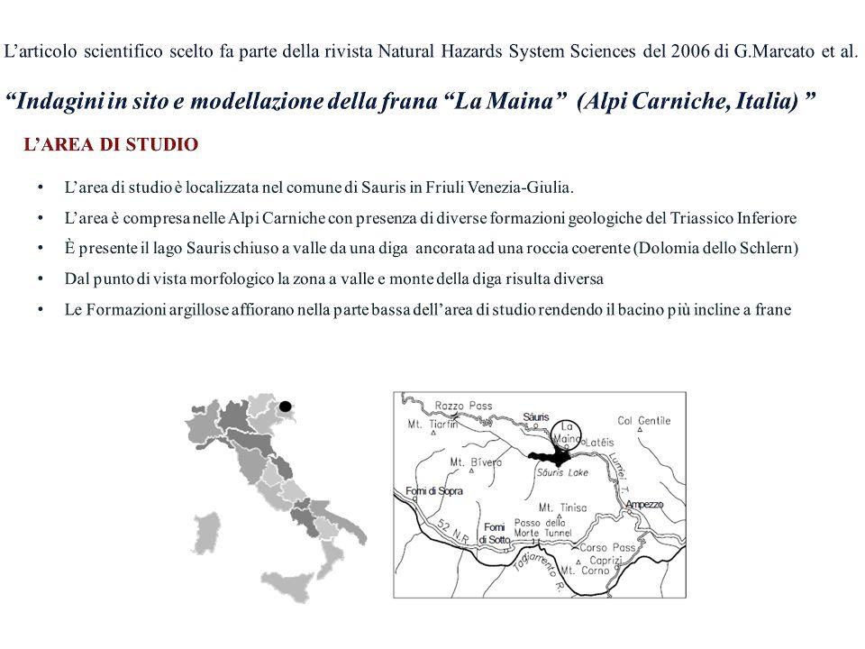 L'articolo scientifico scelto fa parte della rivista Natural Hazards System Sciences del 2006 di G.Marcato et al. Indagini in sito e modellazione della frana La Maina (Alpi Carniche, Italia)
