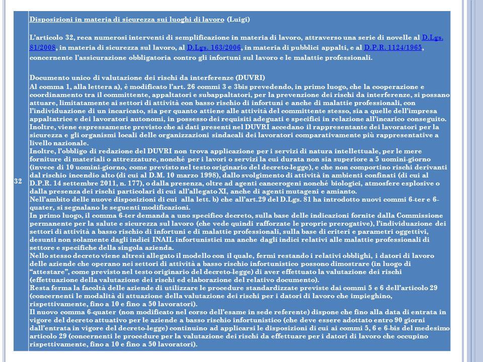 32 Disposizioni in materia di sicurezza sui luoghi di lavoro (Luigi)
