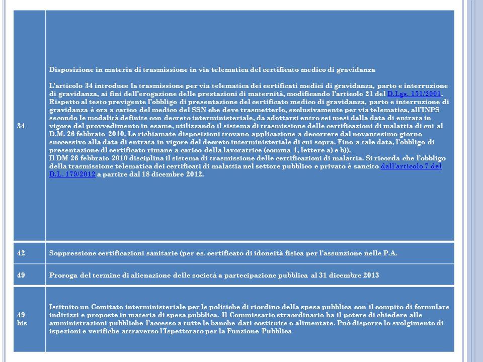 34 Disposizione in materia di trasmissione in via telematica del certificato medico di gravidanza.
