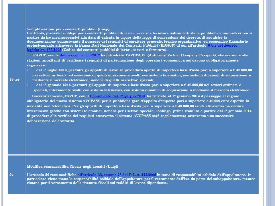 49 ter Semplificazioni per i contratti pubblici (Luigi)