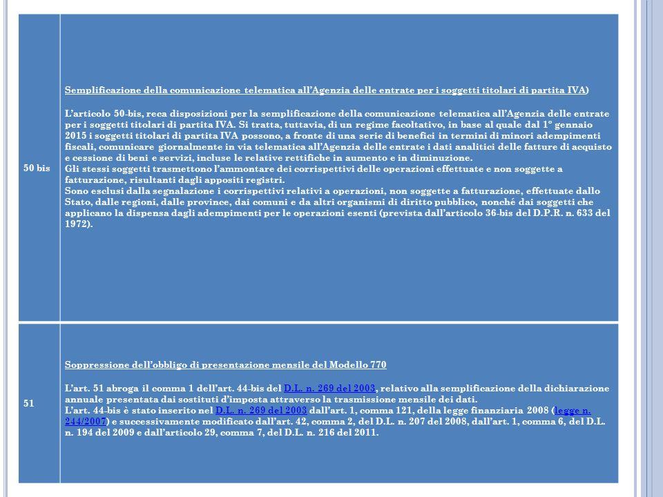 50 bis Semplificazione della comunicazione telematica all'Agenzia delle entrate per i soggetti titolari di partita IVA)