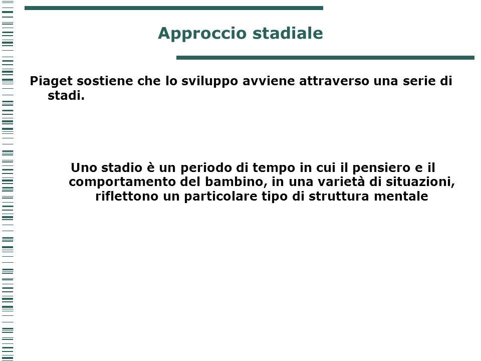 Approccio stadiale Piaget sostiene che lo sviluppo avviene attraverso una serie di stadi.
