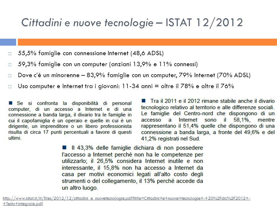 Cittadini e nuove tecnologie – ISTAT 12/2012