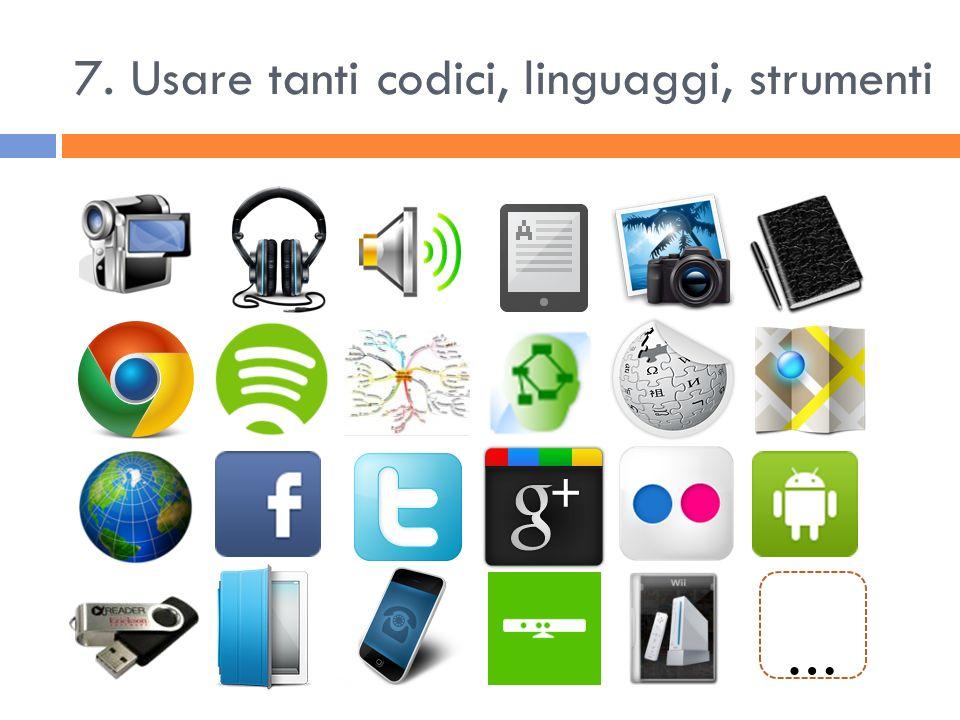 7. Usare tanti codici, linguaggi, strumenti