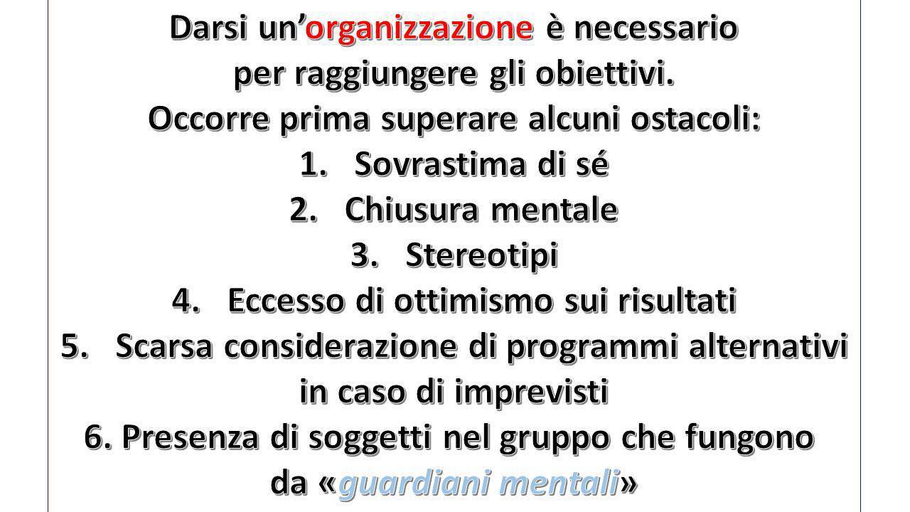 Darsi un'organizzazione è necessario per raggiungere gli obiettivi.