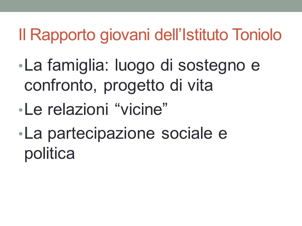 Il Rapporto giovani dell'Istituto Toniolo