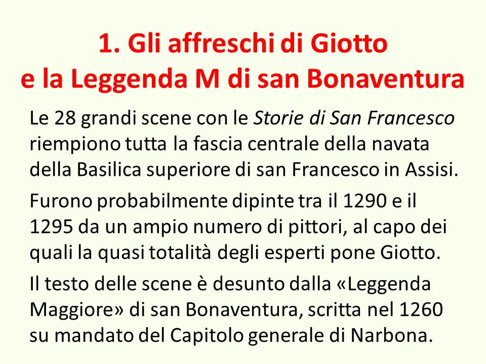 1. Gli affreschi di Giotto e la Leggenda M di san Bonaventura