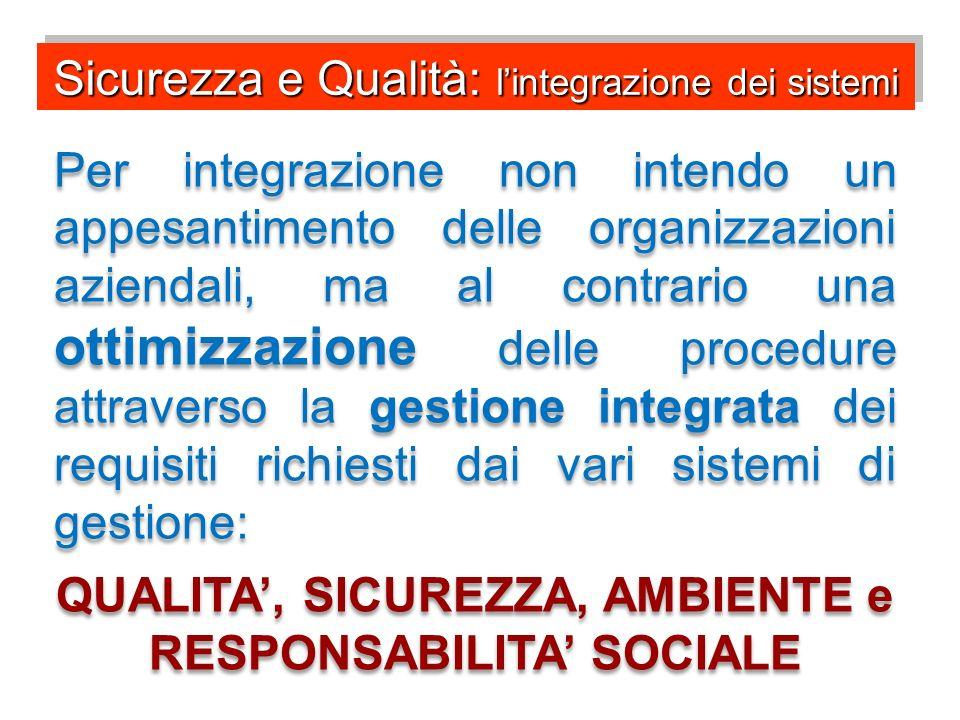 QUALITA', SICUREZZA, AMBIENTE e RESPONSABILITA' SOCIALE