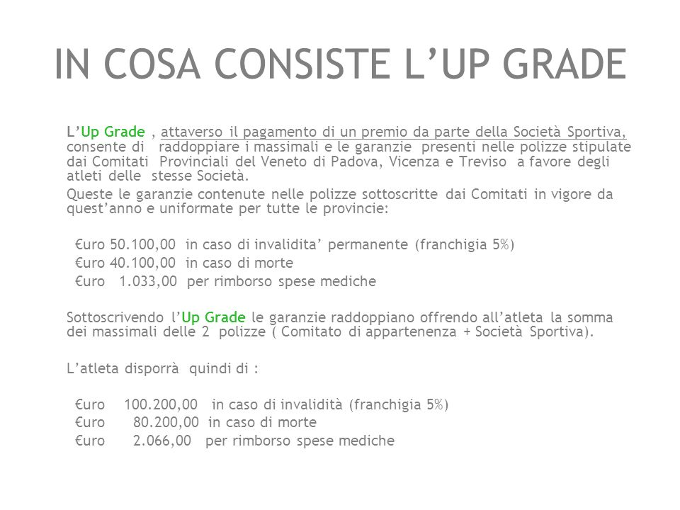 IN COSA CONSISTE L'UP GRADE