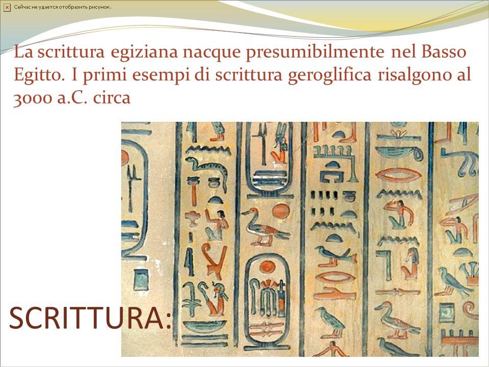 La scrittura egiziana nacque presumibilmente nel Basso Egitto