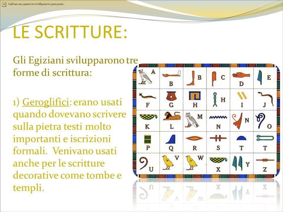 LE SCRITTURE: Gli Egiziani svilupparono tre forme di scrittura: