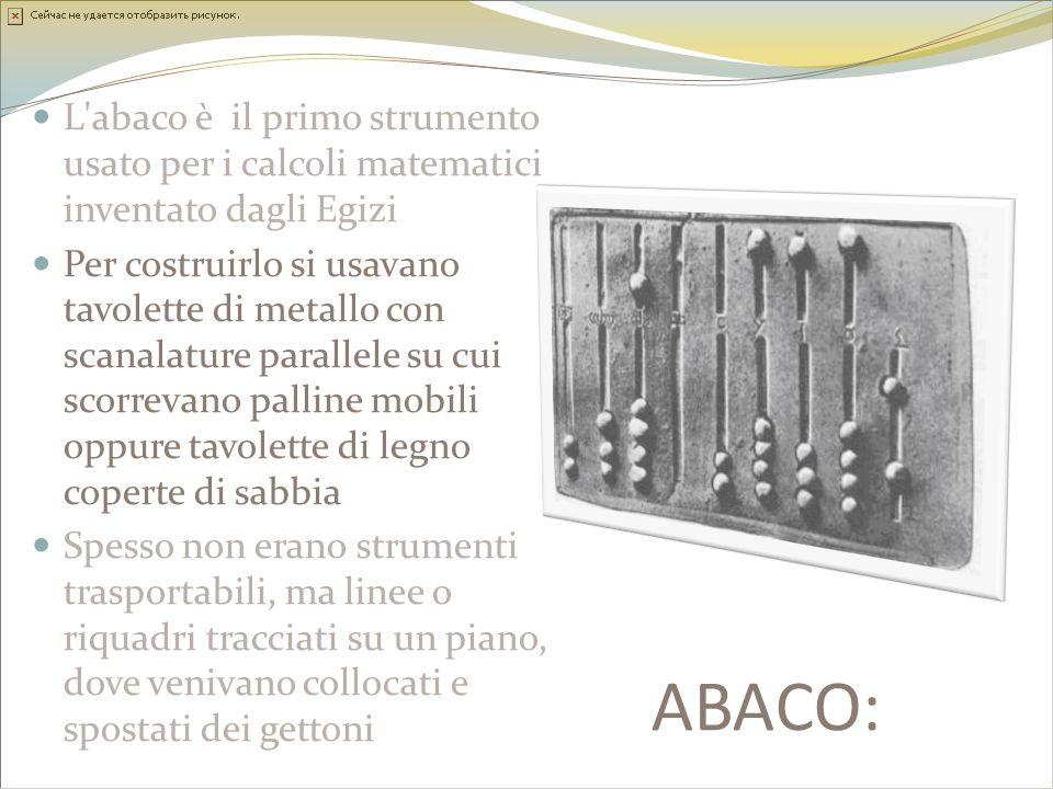 L abaco è il primo strumento usato per i calcoli matematici inventato dagli Egizi