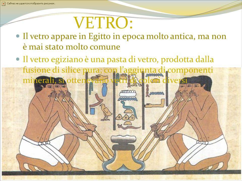 VETRO: Il vetro appare in Egitto in epoca molto antica, ma non è mai stato molto comune.