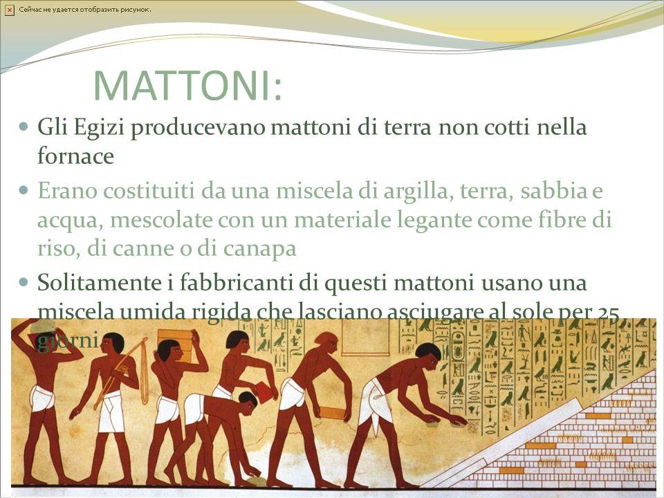 MATTONI: Gli Egizi producevano mattoni di terra non cotti nella fornace.