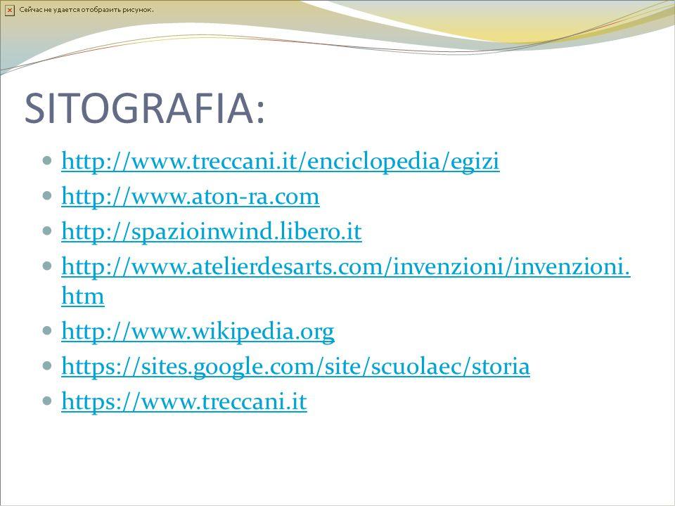 SITOGRAFIA: http://www.treccani.it/enciclopedia/egizi