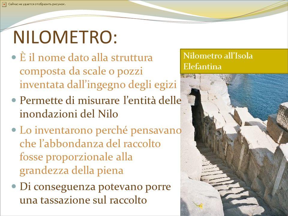 NILOMETRO: È il nome dato alla struttura composta da scale o pozzi inventata dall'ingegno degli egizi.