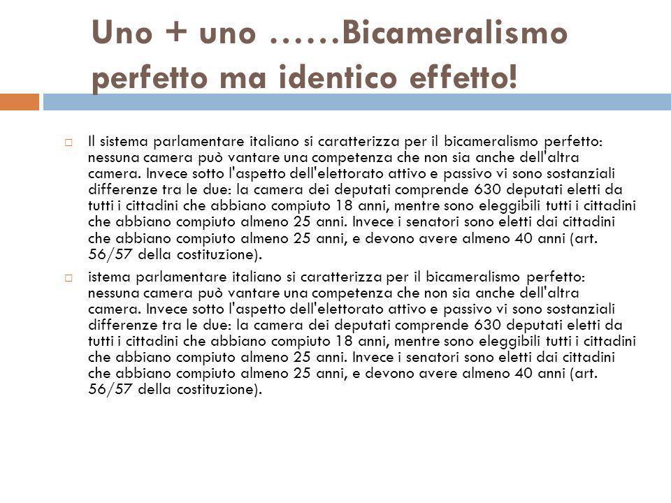 Uno + uno ……Bicameralismo perfetto ma identico effetto!