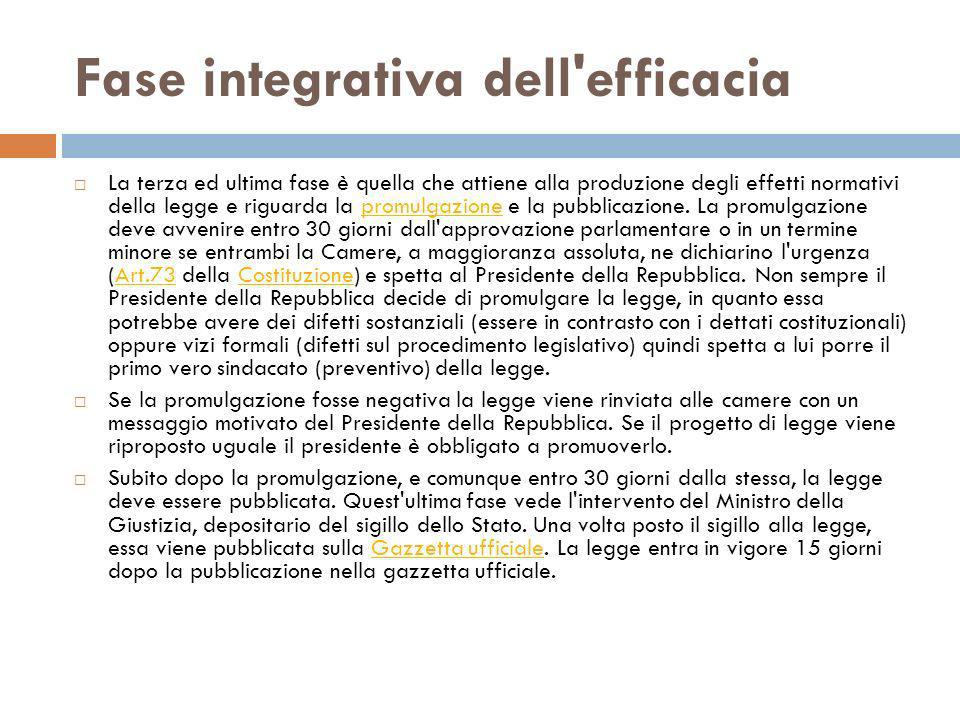 Fase integrativa dell efficacia