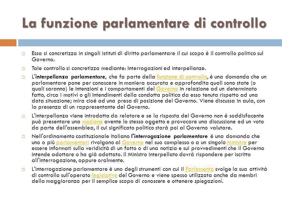 La funzione parlamentare di controllo