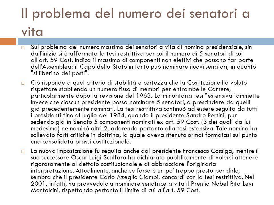 Il problema del numero dei senatori a vita