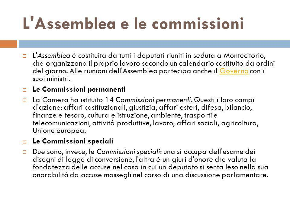 L Assemblea e le commissioni