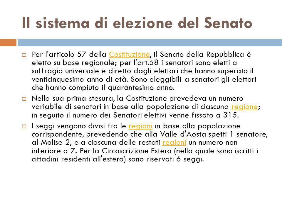 Il sistema di elezione del Senato
