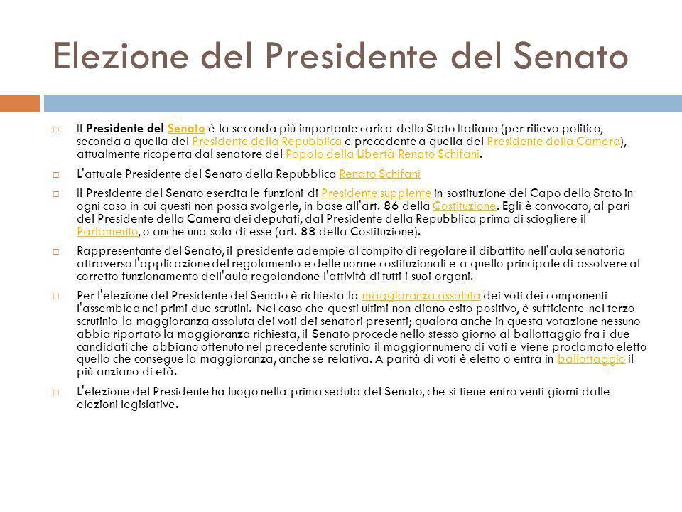 Elezione del Presidente del Senato